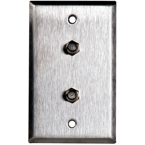 TecNec WPL-1108/R Stainless Steel Wall Plate with (2) Female Coax Connectors (Recessed)