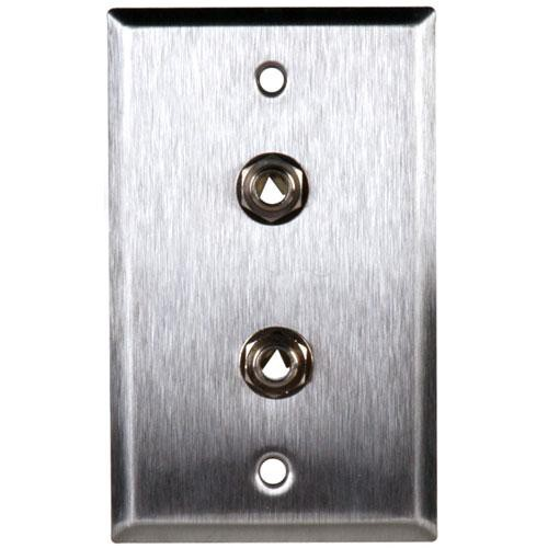 "TecNec WPL-1110 Stainless Steel 1-Gang Wall Plate with 2 1/4"" TRS Phone Jacks"