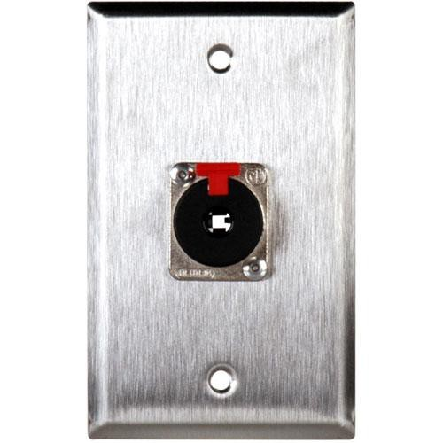 "TecNec WPL-1111 Stainless Steel 1-Gang Wall Plate with Neutrik NJ3FP6C 1/4"" Connector"