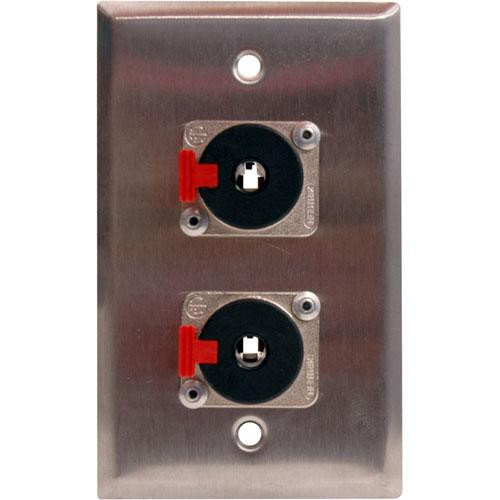 "TecNec WPL-1112 1-Gang Wall Plate with (2) 1/4"" TRS Jack"