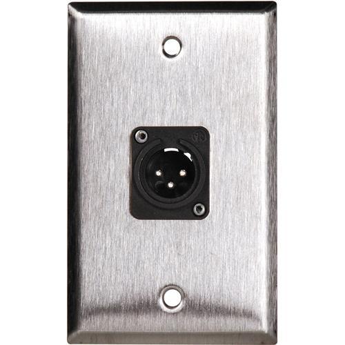 TecNec WPL-1113/BA 1-Gang Black Aluminum Wall Plate with 1 Neutrik NC3FDL1 Connector