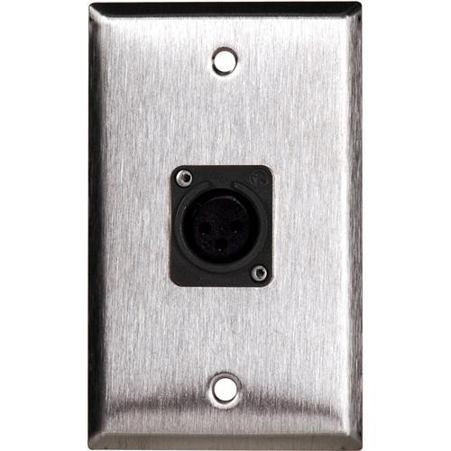 TecNec WPL-1115B Black Wall Plate with 1 Neutrik NC3MDLB Connector