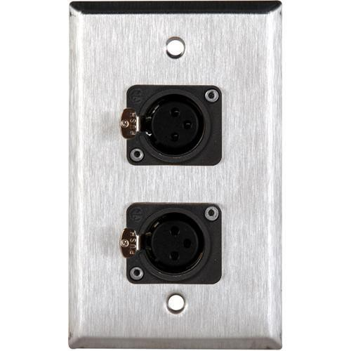 TecNec WPL-1116/W White Wall Plate with 2 Neutrik NC3FDL Connectors