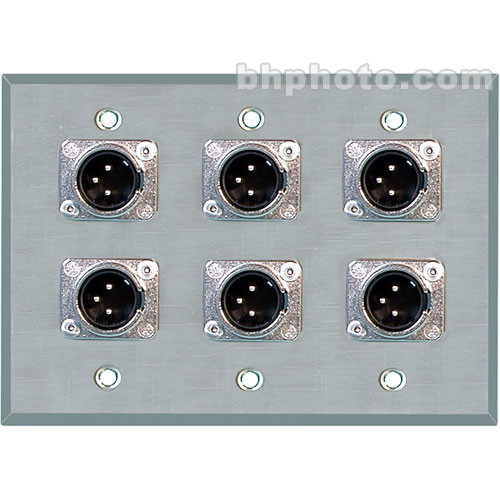 TecNec WPL-3103 3-Gang Wall Plate with 6 Male 3-Pin XLR Connectors