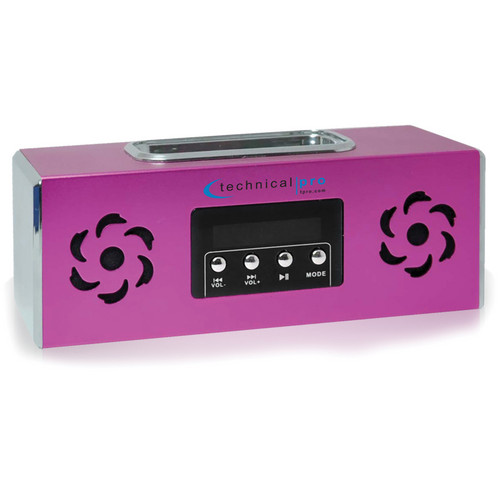 Technical Pro BOOMBOX2P Portable Rechargeable Speaker with iPod Dock (Pink)