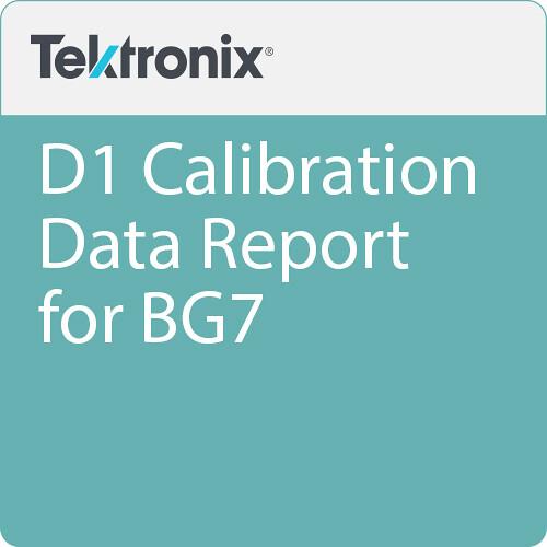 Tektronix D1 Calibration Data Report for BG7