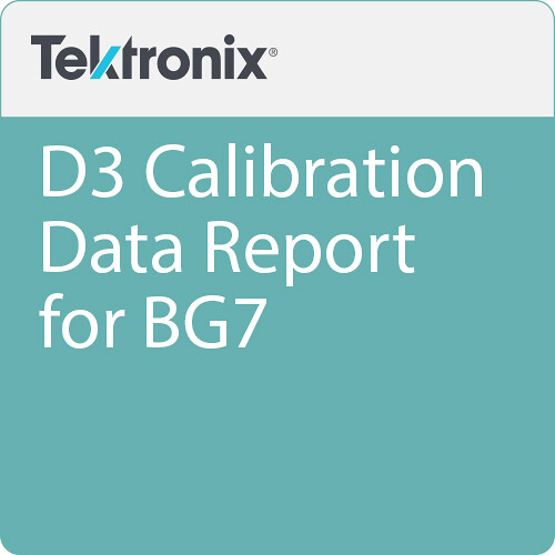 Tektronix D3 Calibration Data Report for BG7
