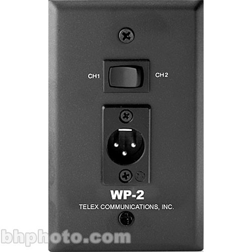 Telex WP-2 Black Wall Plate 2-CH (3-pin XLR Male)