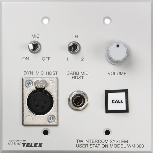 Telex WM-300L Wall Mount User Station w/ an A4F Headset Connector