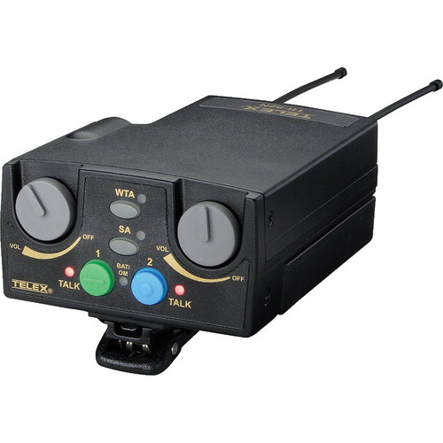 Telex TR-82N 2-Channel UHF Beltpack Transceiver (A4F RTS, H5: 500-518MHz Receive/686-698MHz Transmit)