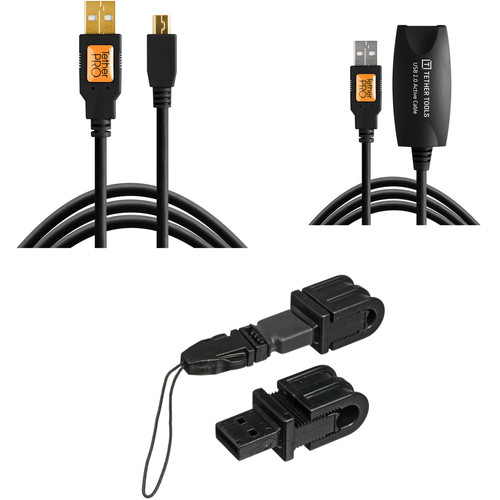Tether Tools TetherPro USB 2.0 Cable, TetherPro USB 2.0 Extension Cable & Jerkstopper Tethering Kit (Black)