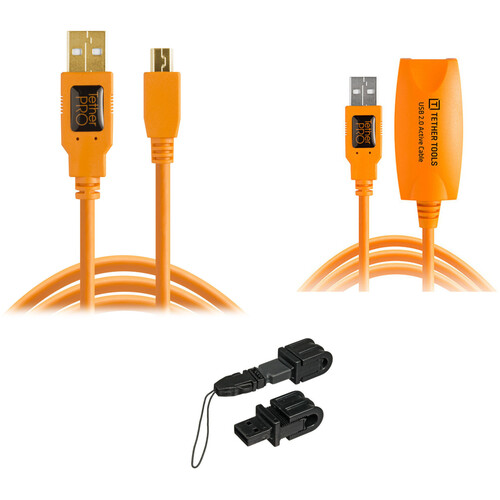 Tether Tools TetherPro USB 2.0 Cable, USB 2.0 Extension Cable & Jerkstopper Tethering Kit (Orange)