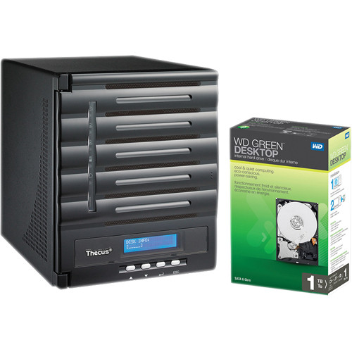 Thecus 5TB (5 x 1TB) Thecus N5550 5-Bay Enterprise Tower NAS Server with Hard Drives