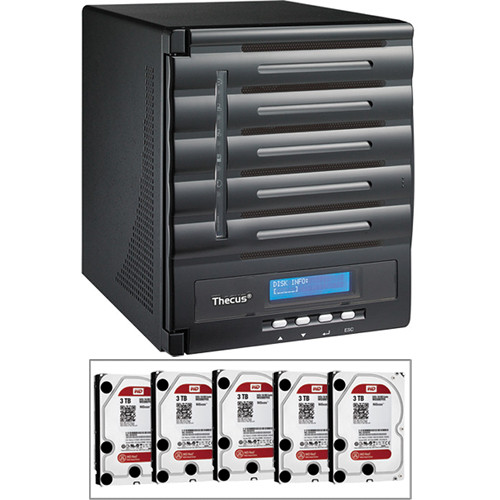Thecus 15TB (5 x 3TB) N5550 5 Bay Enterprise Tower NAS Server Kit with Hard Drives