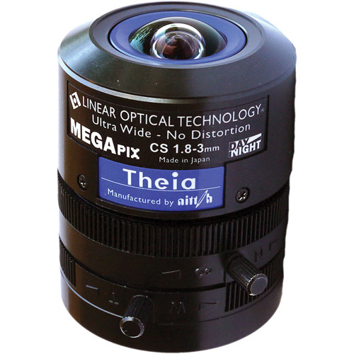 Theia Technologies CS-Mount 1.8 to 3mm Varifocal Manual Iris Lens