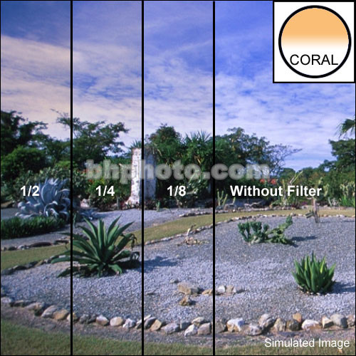 "Tiffen 2 x 3"" 1/8 Coral Soft-Edge Graduated Filter (Horizontal Orientation)"