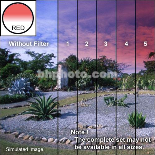 "Tiffen 2 x 3"" 3 Red Hard-Edge Graduated Filter (Horizontal Orientation)"