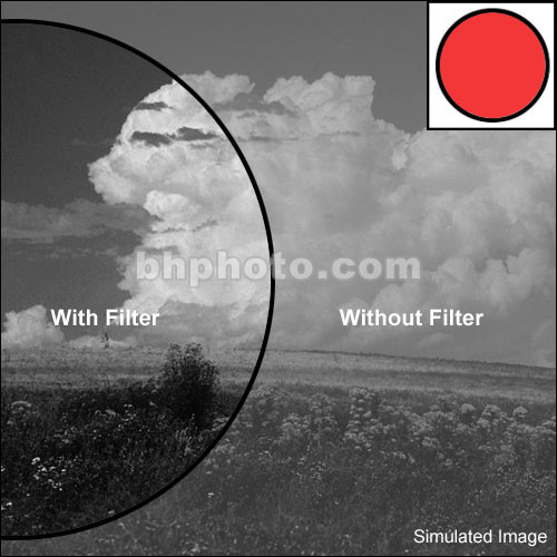 """Tiffen 2x3"""" Light Red #23A Glass Filter for Black & White Film"""