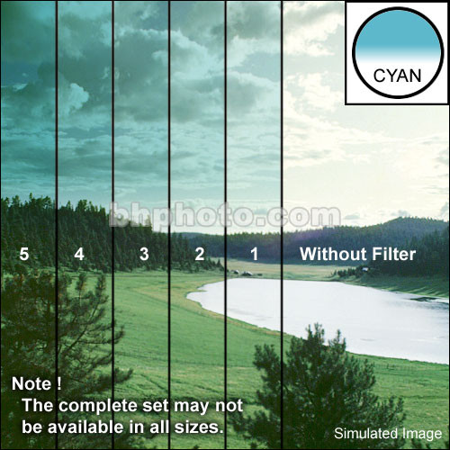 "Tiffen 3 x 3"" 1 Cyan Hard-Edge Graduated Filter"