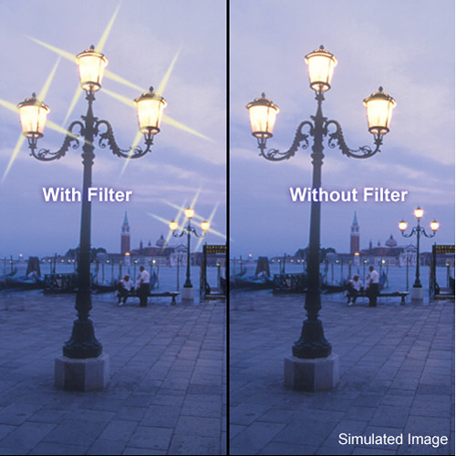"Tiffen 3 x 3"" 4 Point/2mm Grid Star Effect Glass Filter"