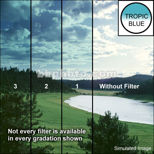 "Tiffen 3 x 4"" 2 Tropic Blue Hard-Edge Graduated Filter (Horizontal Orientation)"