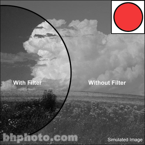 """Tiffen 4x4"""" Light Red #23A Glass Filter for Black & White Film"""