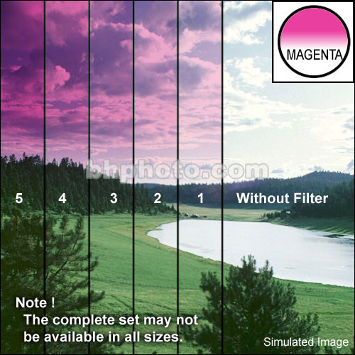 "Tiffen 4 x 5.65"" 1 Magenta Hard-Edge Graduated Filter (Horizontal Orientation)"