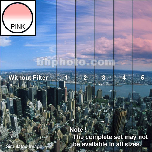 "Tiffen 4 x 5.65"" 2 Pink Hard-Edge Graduated Filter (Vertical Orientation)"