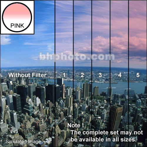 "Tiffen 4 x 5.65"" 3 Pink Hard-Edge Graduated Filter (Vertical Orientation)"