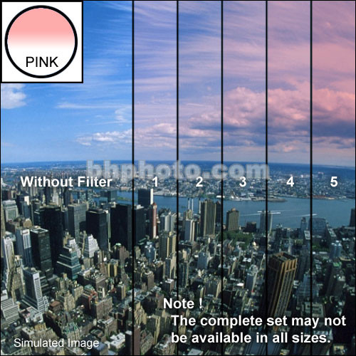 "Tiffen 4 x 5.65"" 5 Pink Hard-Edge Graduated Filter (Horizontal Orientation)"