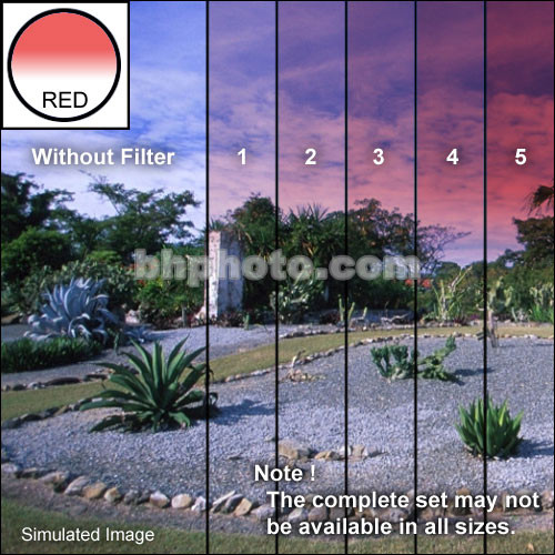 "Tiffen 4 x 5.65"" 4 Red Hard-Edge Graduated Filter (Horizontal Orientation)"