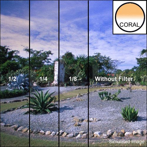"Tiffen 5 x 6"" 1/4 Coral Hard-Edge Graduated Filter (Horizontal Orientation)"
