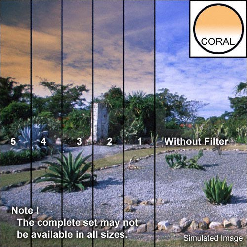"Tiffen 5 x 6"" 1 Coral Hard-Edge Graduated Filter (Horizontal Orientation)"