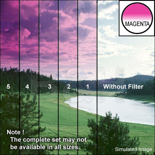 "Tiffen 5 x 6"" 2 Magenta Hard-Edge Graduated Filter (Horizontal Orientation)"