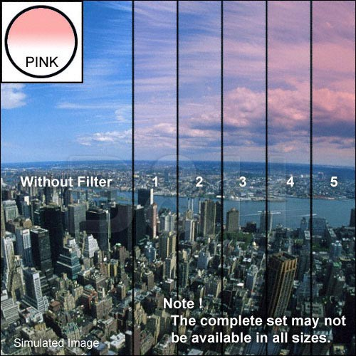"Tiffen 5 x 6"" 2 Pink Hard-Edge Graduated Filter (Horizontal Orientation)"