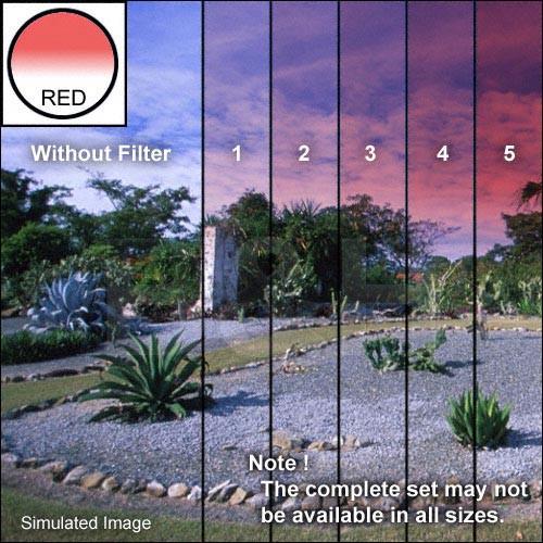 "Tiffen 5 x 6"" 5 Red Hard-Edge Graduated Filter (Horizontal Orientation)"