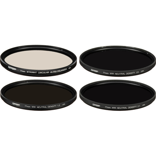 Tiffen 77mm Indie Plus HV Filter Kit (1.5, 1.8, 2.1 Neutral Density and Ultra Circular Polarizer Filters)