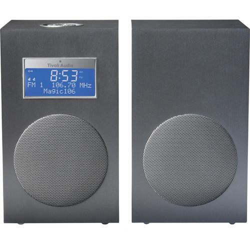 Tivoli Model 10 AM/FM Stereo Clock Radio - Contemporary Collection (Dark Aluminum / Silver)