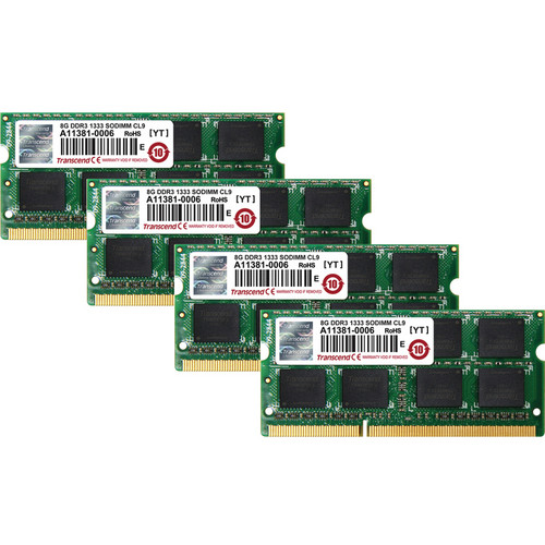 Transcend 4X 8 GB 204-Pin JetRam Series DDR3-1333 Memory Module for Notebooks Kit