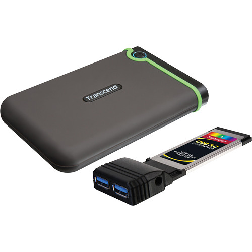 Transcend StoreJet 25D3 Portable Hard Drive (500GB, Green) with ExpressCard/34 Adapter