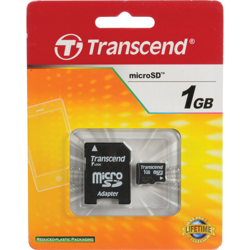 Transcend 1GB microSD Memory Card with microSD Adapter