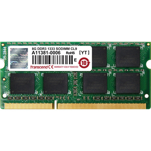 Transcend 8 GB 204-Pin JetRam Series DDR3-1333 Memory Module for Notebooks