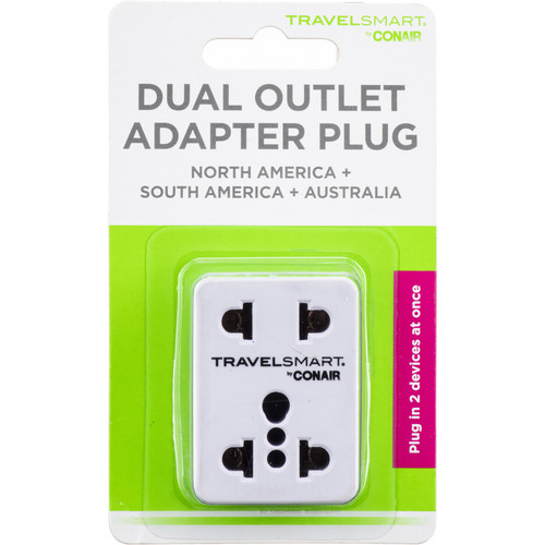 Travel Smart by Conair Dual Outlet Adapter Plug for North and South America, Japan, Australia and New Zealand