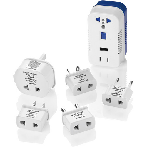 Travel Smart by Conair 2-Outlet 1875W Converter Set with USB Port and 5 Adapter Plugs
