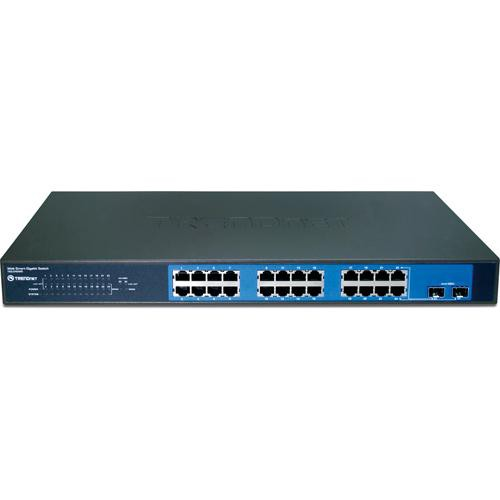 TRENDnet 24-Port Gigabit Web Smart Switch with 2 Shared Mini-GBIC Slots (Version C2.0R)