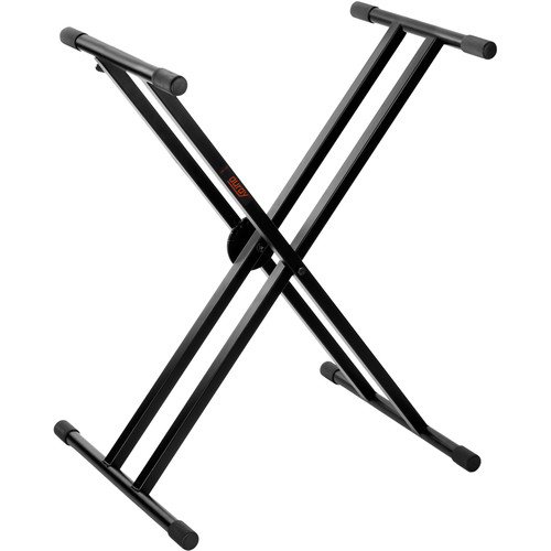 B&H Photo Video Double-Braced X-Style Stand with Headphones and Sustain Pedal - Keyboard Essentials Bundle