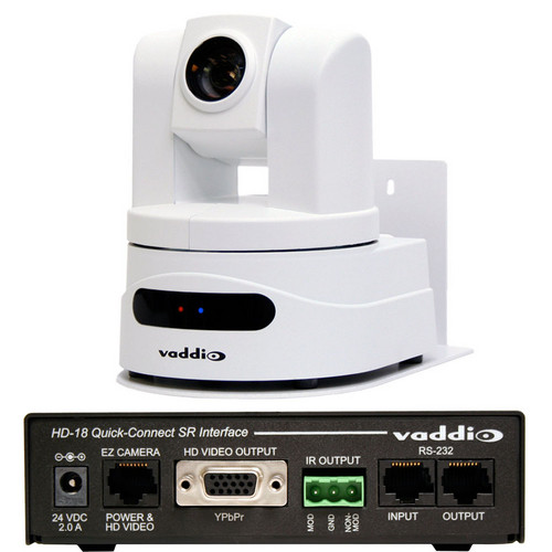 Vaddio WallVIEW HD-19 PTZ Camera (Arctic White) with Quick-Connect SR