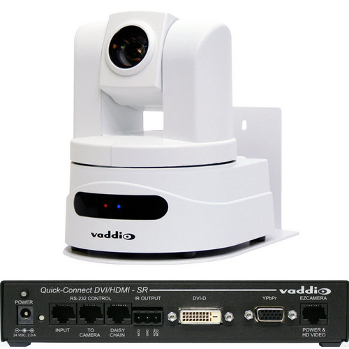 Vaddio WallView HD-19 PTZ Camera (Arctic White) with Quick-Connect DVI/HDMI SR Interface