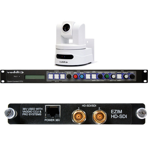 Vaddio WallVIEW CCU HD-19 HD-SDI PTZ Camera (Arctic White) with QuickConnect CCU