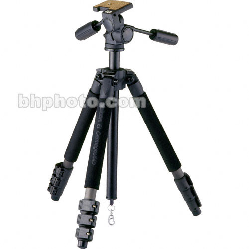 Velbon EL Carmagne 640 Carbon Fiber Tripod Legs (Black) with PH-460B 3-Way Panhead - Supports 13 lbs (6 kg)